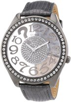 GUESS GUESS? Women's W13096L2 Black Leather Quartz Watch with Dial