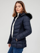 Thumbnail for your product : Very Short Padded Jacket With Faux Fur - Navy