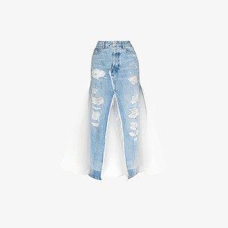 Unravel Project Distressed Denim And Tulle Skirt