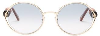 Chloé Dillie Round-frame Beaded Metal Sunglasses - Grey Gold