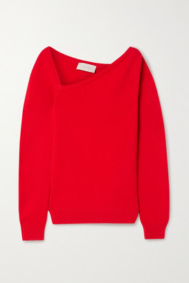 Christopher Kane Asymmetric Wool And Cashmere-blend Sweater - Red