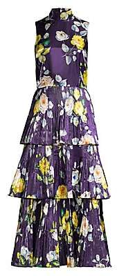 Flor et. al Women's Floral Pleated Midi Dress - Size 0