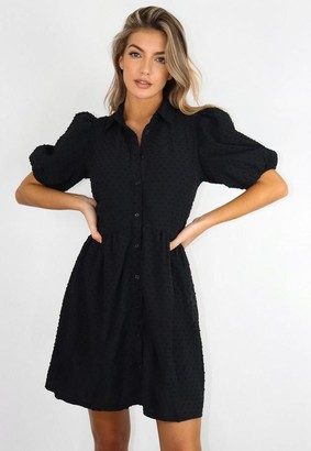 Missguided Black Dobby Puff Sleeve Smock Dress