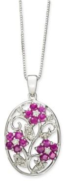 "Macy's Certified Ruby (1-1/2 ct. t.w.) & Diamond (1/8 ct. t.w.) Flower 18"" Pendant Necklace in Sterling Silver"