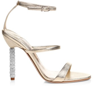Sophia Webster Rosalind Embellished-Heel Metallic Leather Sandals