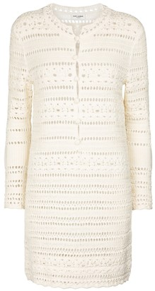 Saint Laurent Pointelle cotton crochet minidress