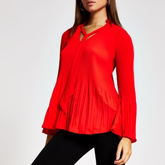River Island Womens Red plisse tie V neck blouse