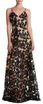 Dress the Population Women's Florence Soutache Lace Fit & Flare Gown