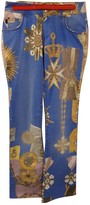Just Cavalli Blue Cotton Trousers for Women
