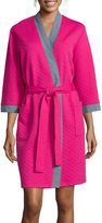 Asstd National Brand Comfort & Co Long-Sleeve Jacquard Knit Quilted Short Robe