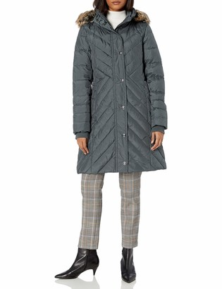 London Fog Women's Chevron Down Quilting with Removable Hood