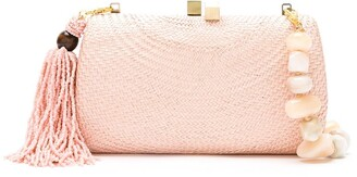 Serpui Marie wicker Beach clutch bag