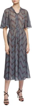 Emporio Armani Bow Collar Chevron Print Midi Dress