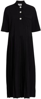 Ganni Melange Suiting Midi Dress