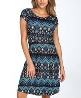 Aqua & Black Geo Cap-Sleeve Dress