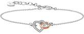 Thomas Sabo Rebel at Heart Linked Together Heart Chain 18ct Diamond Bracelet, Silver/Rose Gold