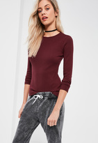 Missguided Burgundy Crew Neck Ribbed Top