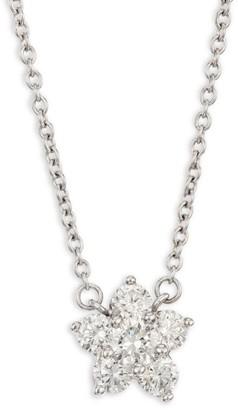 Kwiat Cluster 18K White Gold & Diamond Pendant Necklace