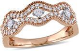 Laura Ashley 1/2 CT TW Diamond 10K Rose Gold Wavy Promise Ring