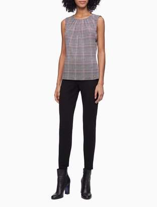 Calvin Klein Printed Pleat Neck Sleeveless Top