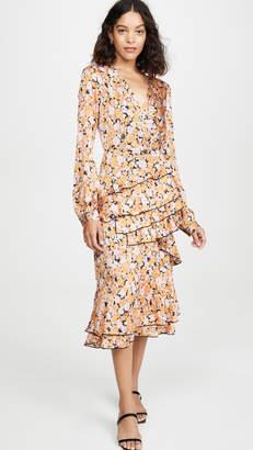 WAYF Nassau Tiered Midi Ruffle Dress