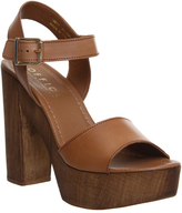 Chunky Tan Strap Heels - ShopStyle UK
