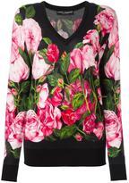 Dolce & Gabbana rose print jumper - women - Silk/Cashmere - 40