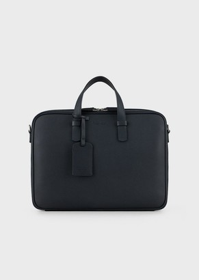 Giorgio Armani Briefcase In Grained Calfskin