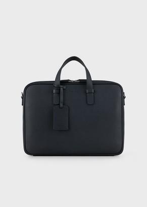 Giorgio Armani Briefcase In Grained Calfskin