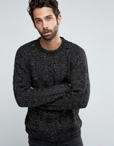 Pull&bear Cable Knit Jumper In Black