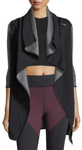 Michi Dusk Wrap Jacket with Ribbed Sleeves