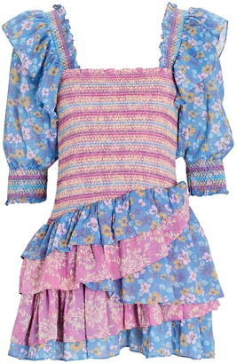 LoveShackFancy Golden Cotton Floral Mini Dress