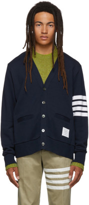 Thom Browne Navy Classic Loopback 4-Bar V-Neck Cardigan