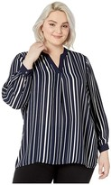 Vince Camuto Specialty Size Plus Size Long Sleeve Plain View Stripe Split-Neck Tunic (Caviar) Women's Clothing