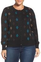 Foxcroft Plus Size Women's 'Aztec Pattern' Button Front Cardigan