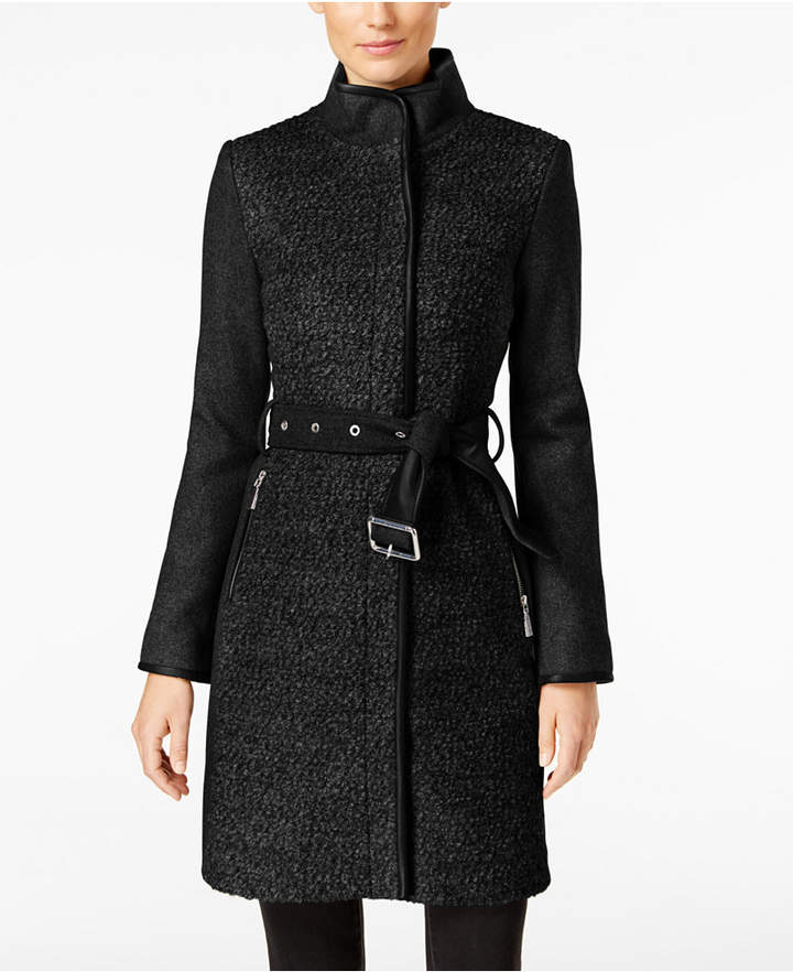 Vince Camuto Twill Cool Faux-Leather-Trim Coat