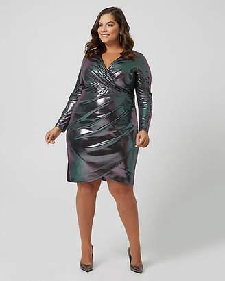 Le Château Foil Knit Wrap-like Cocktail Dress