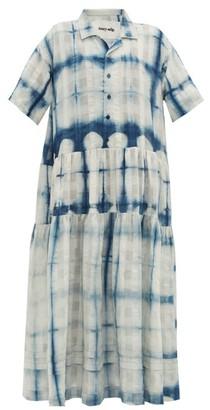 Story mfg. Eden Shibori-dye Organic-cotton Shirt Dress - Blue White