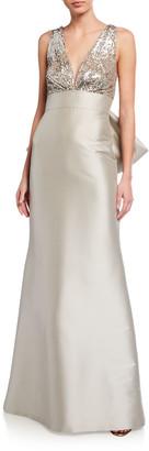 Sachin + Babi Sloane Empire-Waist Sequin-Bodice Mikado Gown