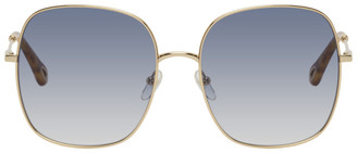 Chloé Gold and Blue Metal Square Sunglasses
