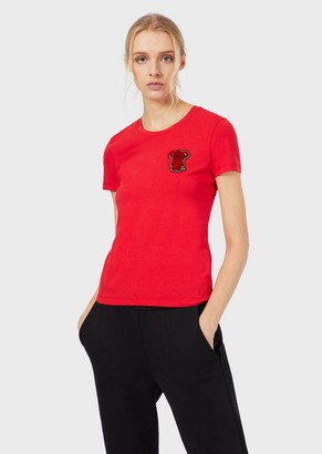 Emporio Armani T-Shirt With Velour-Effect Patch