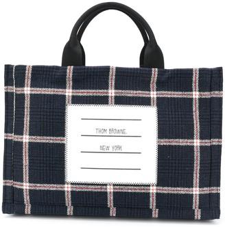 Thom Browne 4-Bar Checked Tote Bag