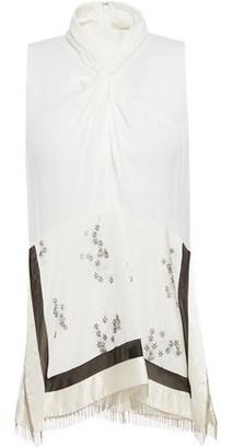 3.1 Phillip Lim Twist-front Embellished Silk-crepe Top