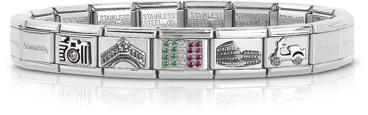 Nomination Travel in Italy Sterarling Silver and Stainless Steel Bracelet w/Cubic Zirconia Italian Flag