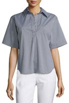 Michael Kors Short-Sleeve Gingham-Print Pullover Top, Black/Off White