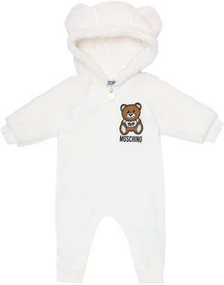 MOSCHINO BAMBINO Baby jersey and faux-fur onesie