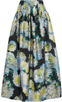 ADAM by Adam Lippes Pleated Floral-jacquard Maxi Skirt - Blue