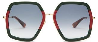 Gucci Web-stripe Hexagon Acetate And Metal Sunglasses - Green Multi