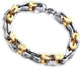 Flongo Men's Biker Stainless Steel Link Bangle Bracelet Elegant Wristband, 9.25 inch