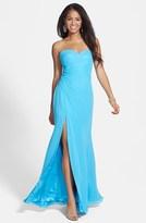 Faviana Back Cutout Strapless Dress with Shawl